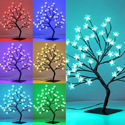 Brightdeco Lighted Cherry Blossom Tree Artificial Bonsai 2FT 48 LED Ideal As Night Lights Perfect for Home Festival Halloween Thanksgiving Christmas Easter Wedding Party 16 Color-Changing 4 Modes