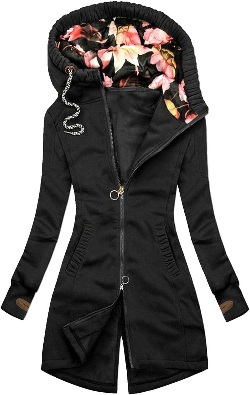 Toeava Women Casual Sweatshirt Full Zip Up Jacket Floral Print Hoodie Comfy Loose Patchwork Long Sleeve with Pockets