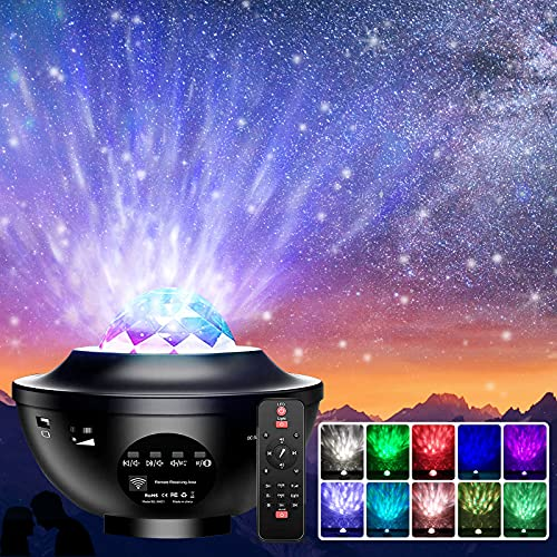 Proyector de Luz Estelar,QXMCOV LED de Luz Nocturna Giratorio,Lámpara de Nocturna Estrellas y Océano,Lámpara Proyector para Niños y Adultos con 21 Modos & Control Remoto & Temporizador & Altavoz