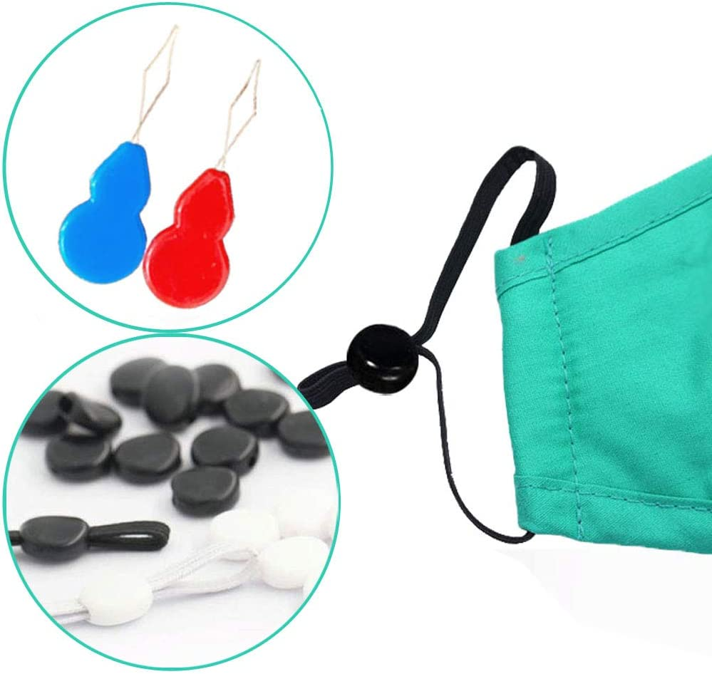 Non-Slip Cord Stopper Toggles for Mask Adjuster Elastic Mask Adjustment Buckle Drawstring Cord Stops 60PCS Silicone Cord Locks for Drawstrings
