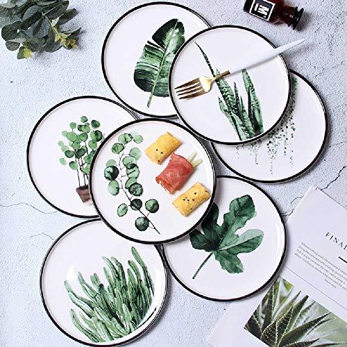 Hengguang Ins - Vajilla de cerámica con diseño de hojas verdes de viento nórdico, color negro