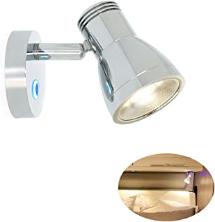 3W RV Stepless Dimming Reading Lights - 12V Warm White Aluminum Material Polished Chrome, Built-in Sensitive Touch Interior Lamps, Exclusive Hidden Mounting, 10-30V for Vehicle Car Caravan Boat