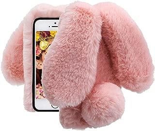 Cistor Case for iPhone 5/5S/SE,Luxury Handmade Rabbit Fur Hair Fluffy 3D Bunny Ear Tail Plush Cover Bling Diamond Soft Warm Winter Shockproof Protective Case for iPhone 5/5S/SE + Free Ring Holder,Pink