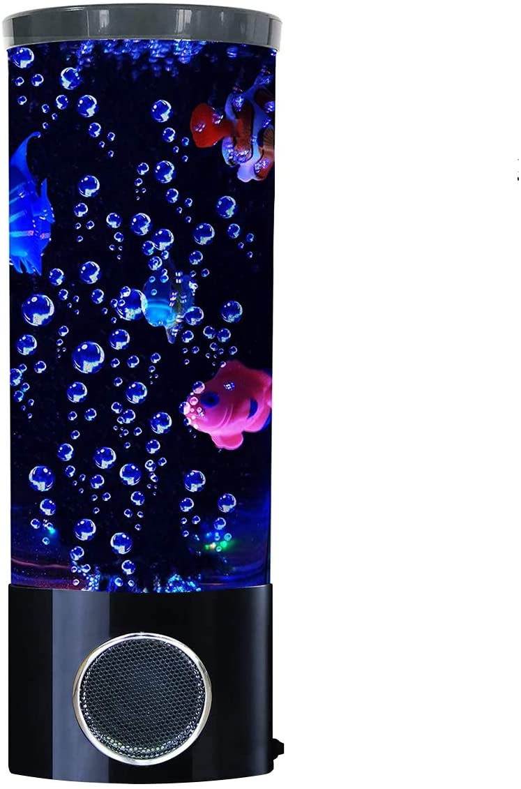 Vaticas Mini Fish Lava Lamp Bubble LED Multi-Color Changing Aquarium Light with 4 Artificial Fish Night Light for Home Office Living Room Decor Gifts for Men Women Kids
