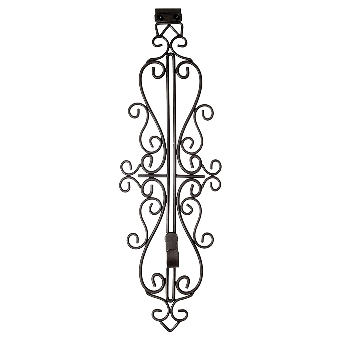 [Front Door WREATH HANGER] - Colonial Design | ADJUSTABLE Hook Length for Tall and Small Doors | PADDING to Prevent Damage like Scratch and Dents | Heavy Duty Cast Iron Metal Hangar - BROWN Finish