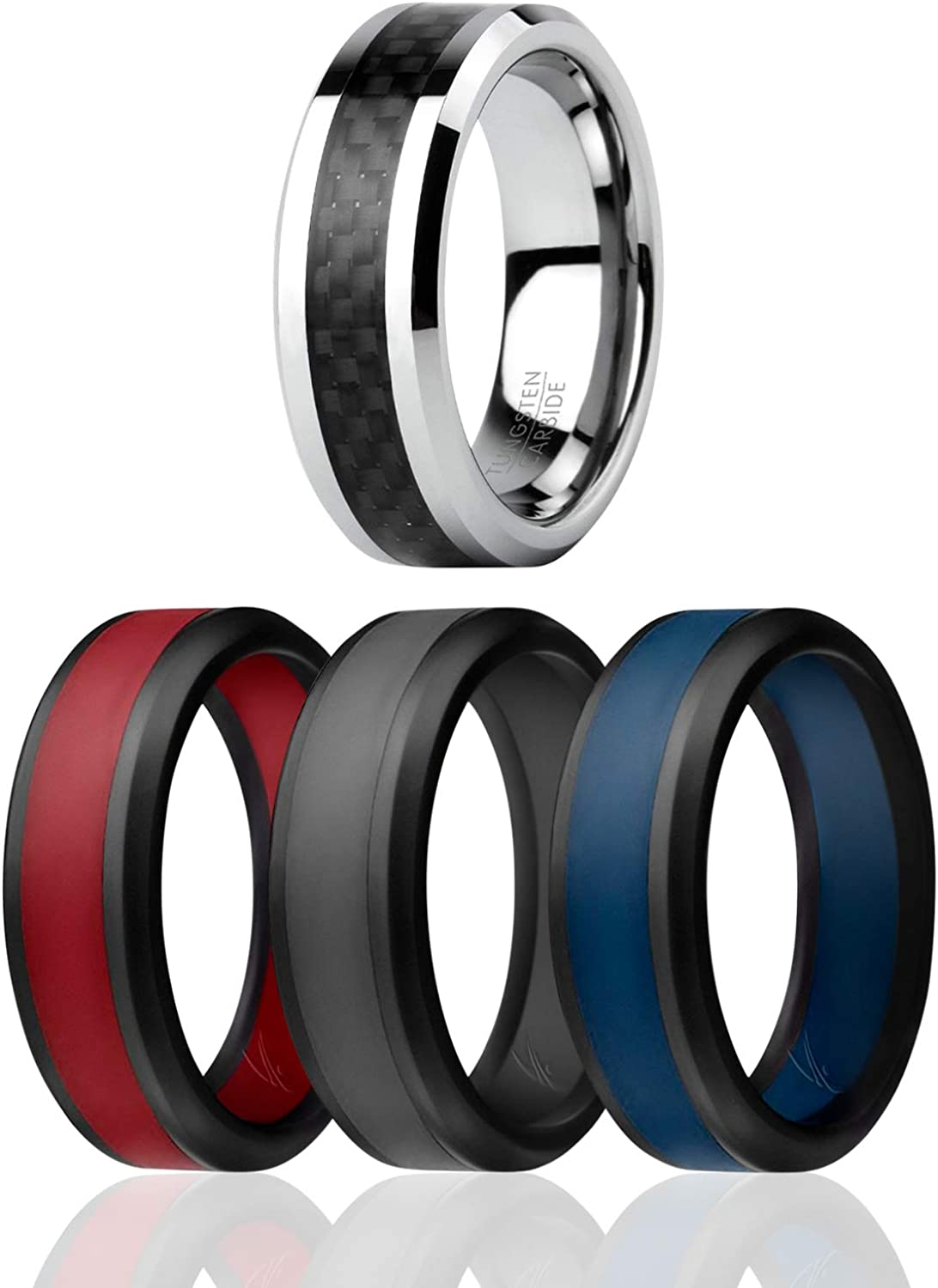 ROQ Classic 8mm Tungsten Carbide Wedding Band Ring for Men /& 3 Silicone Rings for Work//Sport//Hiking Carbon Fiber Style