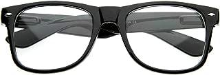 Standard Retro Clear Lens Nerd Geek Assorted Color Horn Rimmed Glasses (Black)