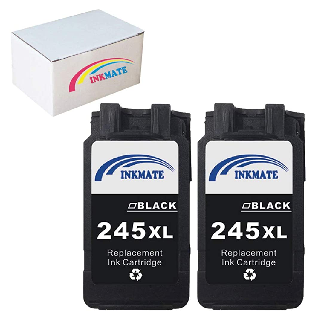 INKMATE 2 Pack Black PG-245XL Ink Cartrige Replacement for Canon PIXMA IP2820 MG2420 MG2520 MG2920 MG2922 MG2924 MX492 MX490 dyz61468512