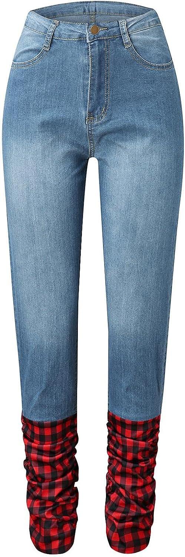LEIYAN Womens Slim Fit Micro Denim Bell Bottom Jeans Casual Tunic Waist Wide Leg Fashion Leopard Print Pants