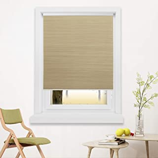 Grandekor 34x36 inch Blackout Shades Cordless Blinds Cellular Fabric Blinds Honeycomb Door Window Shades Pale Beige-White