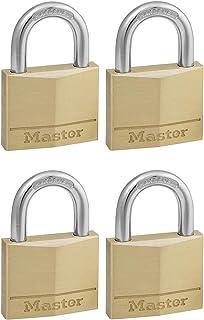 Master Lock 140EURQNOP Pack of 4 Key Padlocks with Brass Body, Gold, 6 x 4 x 1,3 cm