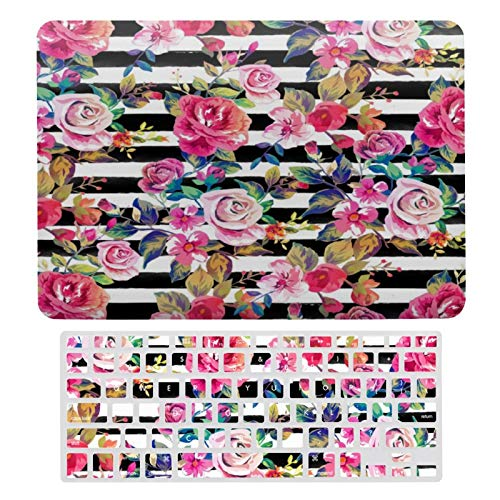MacBook Air 13 Inch Case(A1369 & A1466, Older Version 2010-2017 Release), Plastic Hard Protective Laptop Case Shell with Keyboard Cover, Cute Spring Floral and Stripes Watercolor Pattern