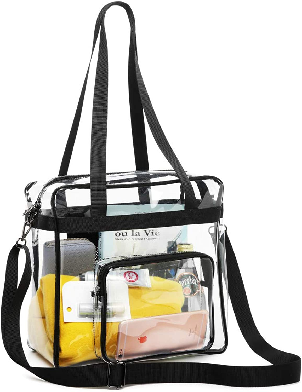 Clear Bag Stadium Approved, Fcolor NFL Approved Clear Tote Bag, Heavy Duty and Waterproof Plastic Transparent Bag with Adjustable Strap Clear Purse for Women and Men, Black