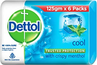 Dettol Cool Germ Protection Bathing Soap bar, 125gm, Pack of 6