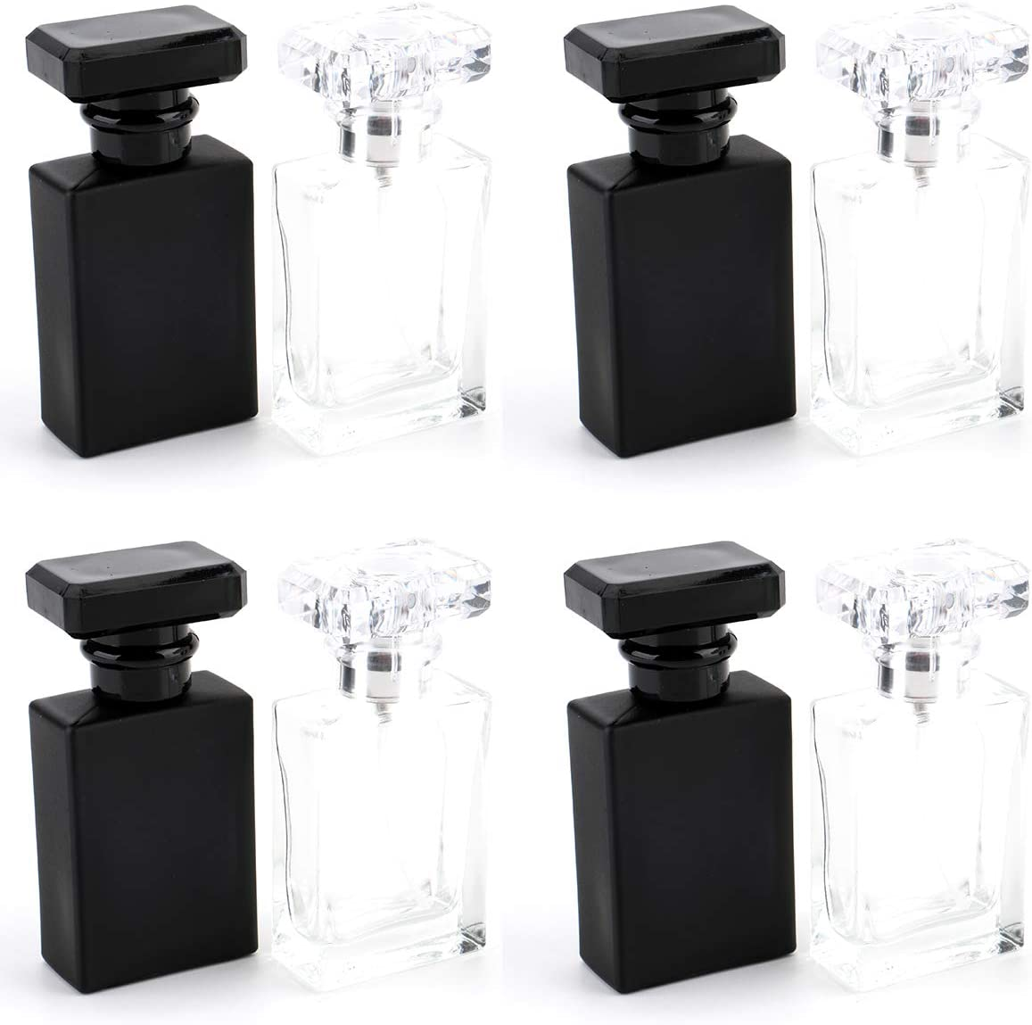 Foraineam 8 Pack 30ml / 1 oz. Refillable Perfume Bottle, Portable Square Empty Glass Perfume Atomizer Bottle with Spray Applicator, Transparent and Black Assorted