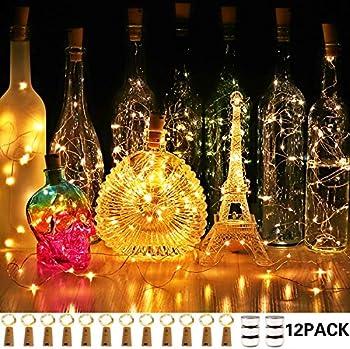 12-Pack Cuucor Fairy Mini String Cork Lights
