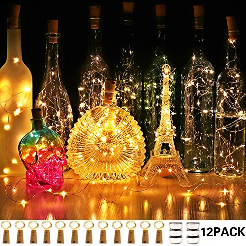 CUUCOR Wine Bottle Lights, 7.2ft 20 LEDs Battery Operated Fairy Mini String Cork Lights for DIY, Christmas, Party(Warm...
