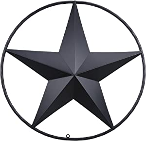 24 Black Barn Star Outdoor Decor, Circle Rustic Style Texas Lone Star for Western House Wall Decor