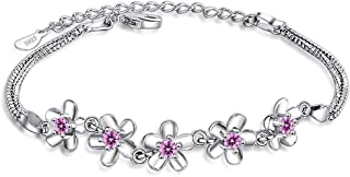 Sterling silver Plated Cubic-zirconia Cherry Blossom Bracelet Women Girls Adjustable Bracelet Fashion Jewelry