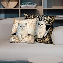 PLstar Cosmos Decorative Accent Pillow Covers Set Pack of Two Soft Cute Animal Cushion Cover 18×18 inch& 20×20 inch for Sofa Bedroom Car (White-cat)