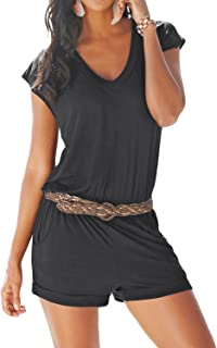 Yidarton Women's Casual Summer Rompers V-Neck Elegant Jumpsuit High Waist Jumpsuit Rompers for Women (Without Belt)
