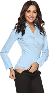 Soojun Women's Long Sleeve Easy Care Work Bodysuit Shirt Size