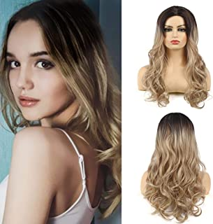 Kaneles Ombre Blonde Long Curly Wavy Wig Dark Roots Synthetic Wigs For Women Heat Resistant Natural Wig