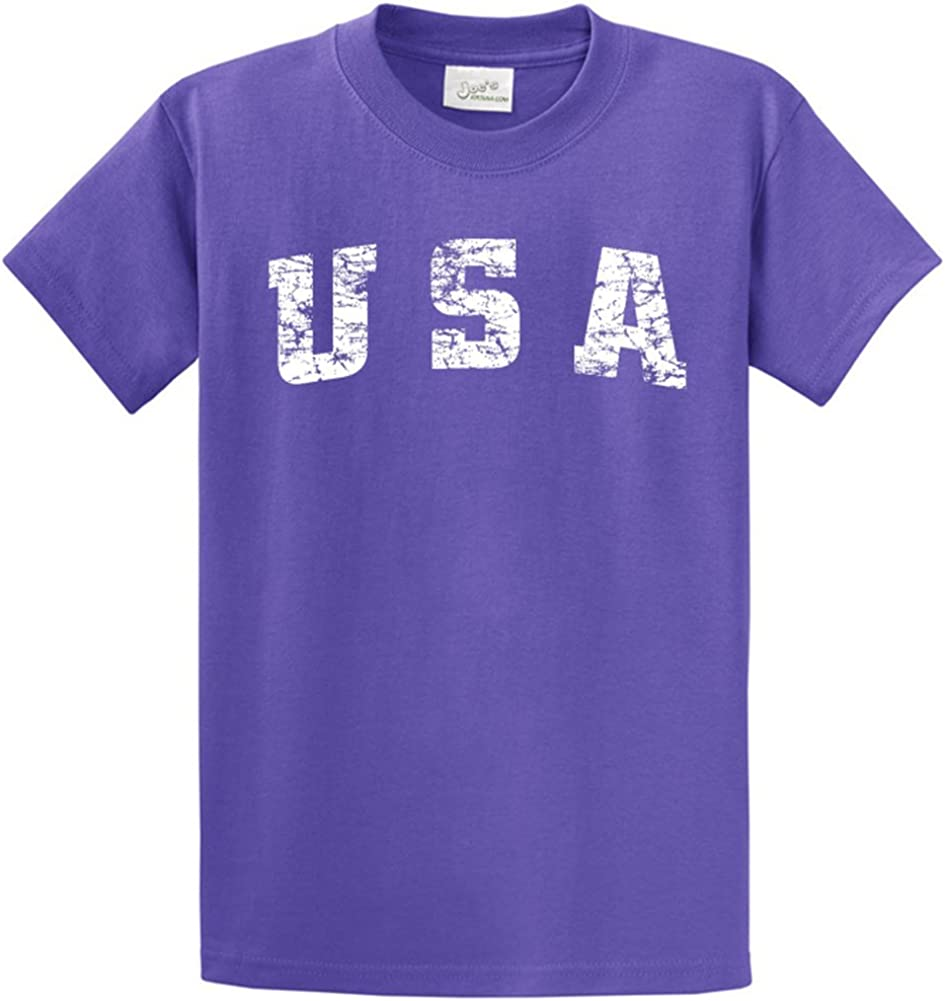 Joe's USA -Tall Vintage USA Logo Tee T-Shirts in Size Large Tall - LT Violet