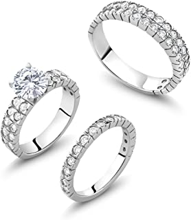 Gem Stone King 4.43 Ct His and Hers 3 Pieces 925 Sterling Silver & CZ Engagement Wedding 3 Ring Set