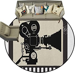 Movie Theater,Floor Mat Movie Frame Pattern with Silhouette of Movie Reels in a Projector D36 Living Room Round Mats Area Rugs
