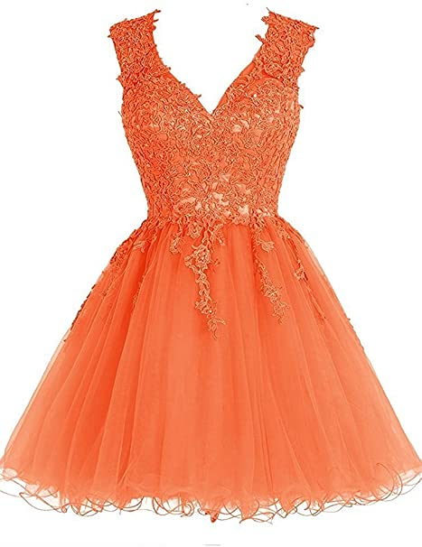 Homecoming Kleid Kurz Cocktailkleid Spitze Homecoming Kleid Tull V Ausschnitt Ballkleider Applikationen Orange 48 Amazon De Bekleidung