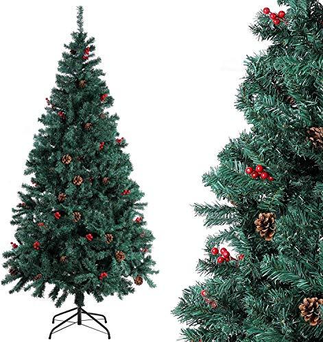 Homfa Albero di Natale Cono di Pino,Alberi di Natale per Regali di Natale, Decorazioni Natale per Pareti di Porte,Albero di Natale Artificiale con Supporto in Metallo Pieghevole(195cm)