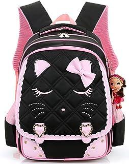 dde32ddf56 Efree Cute Cat Face Bow Diamond Bling Waterproof Pink School Backpack Girls  Book Bag