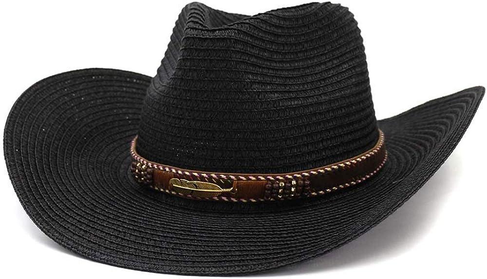 MUMUWU Straw Western Cowboy Hat Women Man Summer Outdoor Beach Hat Sunscreen Metal Leaf Decoration Sun Hat