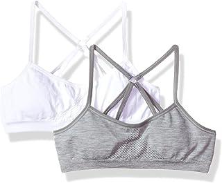 تيشيرت Hanes Girls Big ComfortFlex بدون خياطة بظهر متقاطع مع إسفنج من قطعتين باللون الأبيض/الرمادي المنقط