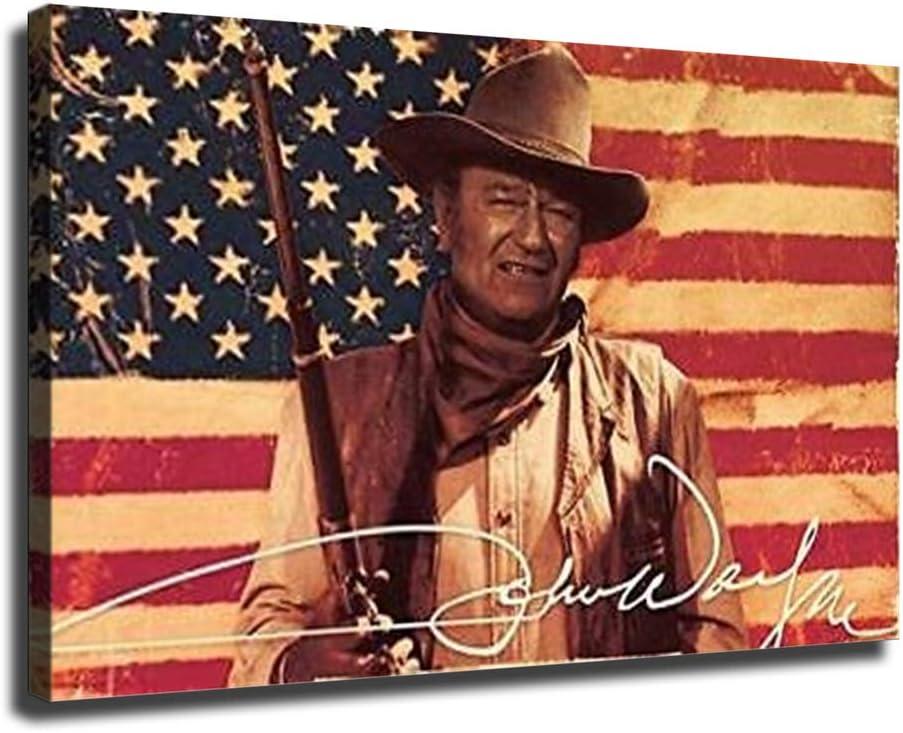 John Wayne Max 73% OFF Regular dealer Poster Print on Canvas Living Painting Room for Decor