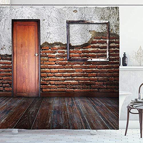 ASDAH antieke douchegordijn fotolijst op beschadigde bakstenen muur leeftijd oude kamer rustieke houten vloer doek stof badkamer Decor Set met haken verbrand oranje 66 * 72in