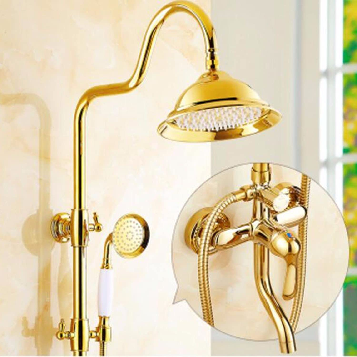 Shower set European Style Natural Jade gold Shower Set All Copper Antique Shower Hot And Cold American Style gold-Plated Shower Can Be Lifted,A