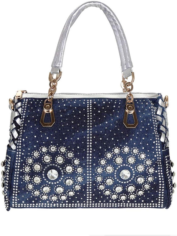 Huasen Evening Bag Bag bluee Denim Jeans Women Shoulder Handbags Vintage Fashion Chains Shine Rhinestone Totes Female Messenger Purse Party Handbag (color   Silver)