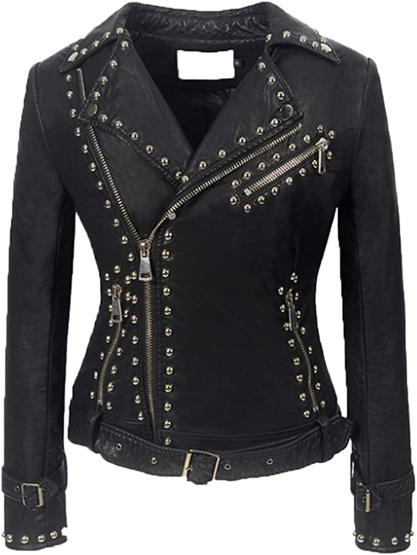 ONLYWOOD Womens Soft Faux Suede Moto Biker Jacket with Rivets Zip Punk Jackets