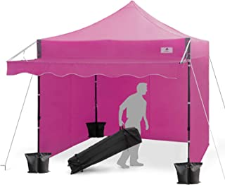 FinFree 10x10 FT Pop Up Canopy Tent Commercial Instant Canopy with Awning, Roller Bag, 6 Walls and Weight Bags, Purple