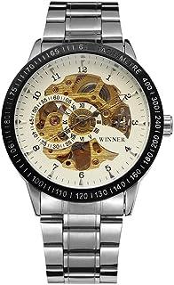 ساعة يد رجالي أنيقة ميكانيكية ميكانيكية للرجال من GoolRC 8085 ساعة أنيقة فاخرة للرجال بهيكل عظمي مينا من الفولاذ المقاوم ل...