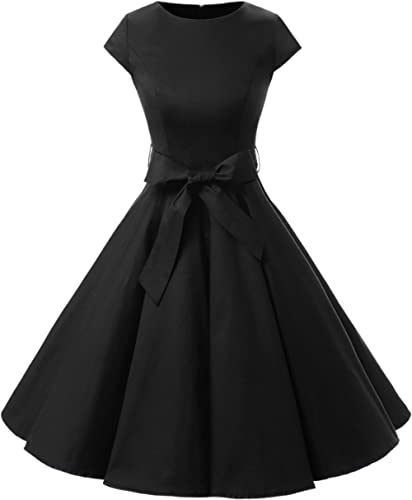 Dressystar Women Vintage 1950s Retro Rockabilly Prom Dresses Cap-Sleeve