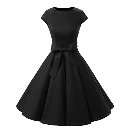 21f5c8bd05dc Dressystar Women Vintage 1950s Retro Rockabilly Prom Dresses Cap-Sleeve