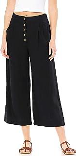 Ambiance Apparel Women's Juniors Summer Linen Wide-Leg Culotte Pants