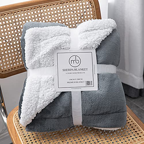 Mixibaby Hochwertige Wohndecken Kuscheldecken, extra Dicke warm Sofadecke/Couchdecke, Größe:150 cm x 200 cm, Farbe:Dunkelgrau