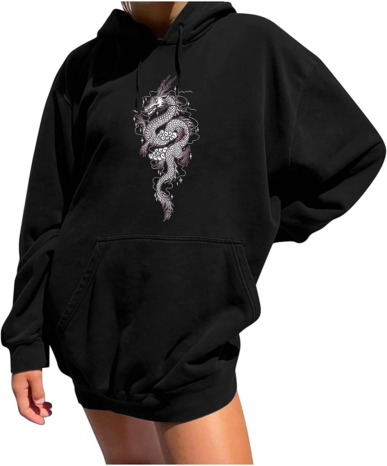 Dragon Graphic Columbus Mall Sweatshirt for Women Spring new work one after another Sleeve Costumes Vintage Long