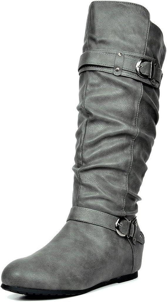 DREAM PAIRS Womens Knee High Low Hidden Wedge Boots