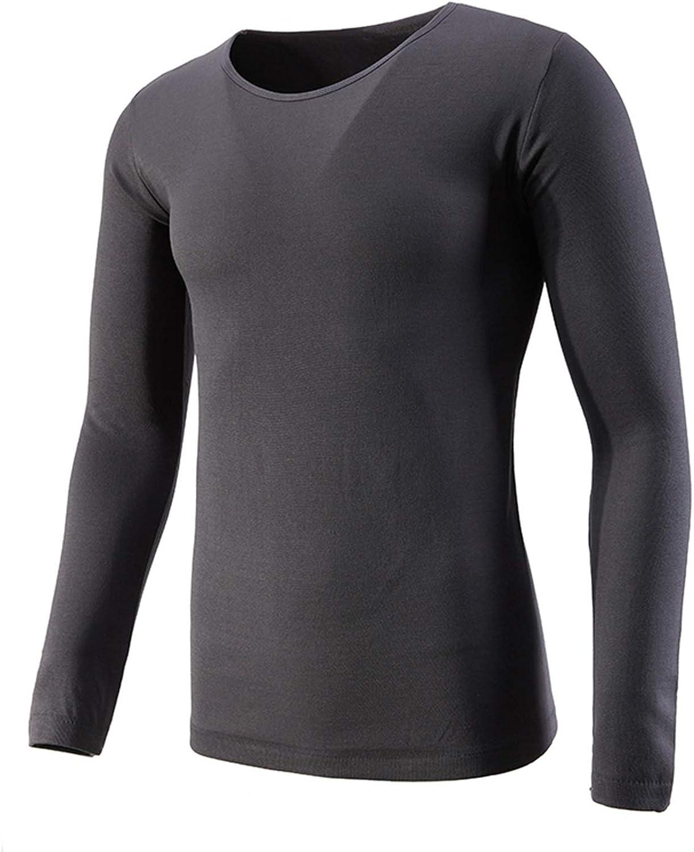 VANORIG Thermal Underwear for Men Long Sleeve Top Elastic Soft Thermal Tops Plush Lined Winter Warm Underwear