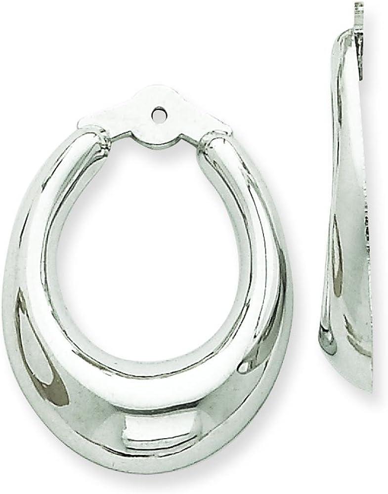 14K White Gold Hoop Earring Jackets Ear Jewelry